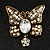 Vintage Butterfly With Dangling Floral Tail Brooch (Antique Bronze Tone) - view 5