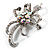 Crystal Bow Corsage Brooch (Silver Tone) - view 3