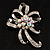 Crystal Bow Corsage Brooch (Silver Tone) - view 4