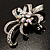 Crystal Bow Corsage Brooch (Silver Tone) - view 5