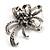Crystal Bow Corsage Brooch (Silver Tone)