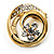 Swirl Crystal Scarf Pin/ Brooch (Gold Tone)
