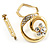 Swirl Crystal Scarf Pin/ Brooch (Gold Tone) - view 2