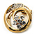 Swirl Crystal Scarf Pin/ Brooch (Gold Tone) - view 4
