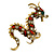 Huge Ornate Crystal Enamel Chinese Dragon Brooch (Aged Gold Tone) - 105mm Across