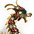 Huge Ornate Crystal Enamel Chinese Dragon Brooch (Aged Gold Tone) - 105mm Across - view 2