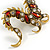 Huge Ornate Crystal Enamel Chinese Dragon Brooch (Aged Gold Tone) - 105mm Across - view 3