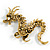 Huge Ornate Crystal Enamel Chinese Dragon Brooch (Aged Gold Tone) - 105mm Across - view 5