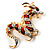 Huge Ornate Crystal Enamel Chinese Dragon Brooch (Aged Gold Tone) - 105mm Across - view 7