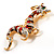 Huge Ornate Crystal Enamel Chinese Dragon Brooch (Aged Gold Tone) - 105mm Across - view 12