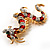 Huge Ornate Crystal Enamel Chinese Dragon Brooch (Aged Gold Tone) - 105mm Across - view 6