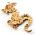 Huge Ornate Crystal Enamel Chinese Dragon Brooch (Aged Gold Tone) - 105mm Across - view 11