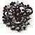 Purple&Jet-Black Diamante Corsage Brooch (BlackTone)