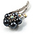 Oversized Stunning Flower Imitation Pearl Crystal Pin Brooch (Silver&Black) - view 4