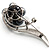 Oversized Stunning Flower Imitation Pearl Crystal Pin Brooch (Silver&Black) - view 5