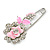 Safety Pin Brooch with Crystal Pink Rose Motif in Silver Tone/ 70mm Long