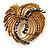 Vintage Antique Gold Bow Crystal Brooch (Jet Black)