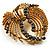 Vintage Antique Gold Bow Crystal Brooch (Jet Black) - view 3