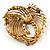 Vintage Antique Gold Bow Crystal Brooch (Jet Black) - view 5