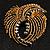 Vintage Antique Gold Bow Crystal Brooch (Jet Black) - view 2