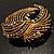 Vintage Antique Gold Bow Crystal Brooch (Jet Black) - view 6