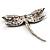 Classic Black Swarovski Crystal Dragonfly Brooch (Silver Tone) - view 4