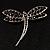 Classic Black Swarovski Crystal Dragonfly Brooch (Silver Tone) - view 2