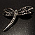 Classic Black Swarovski Crystal Dragonfly Brooch (Silver Tone) - view 7