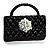 Stylish Crystal Bag Brooch (Jet Black)