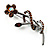 Amber Coloured Crystal Daisy Brooch (Silver Tone) - view 4