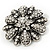 Amber Coloured Crystal Daisy Brooch (Silver Tone) - view 11