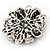 Amber Coloured Crystal Daisy Brooch (Silver Tone) - view 12