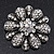 Amber Coloured Crystal Daisy Brooch (Silver Tone) - view 13