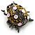 Vintage Crystal Ladybug Brooch (Antique Silver Tone)