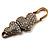 Vintage Swarovski Crystal Heart Pin Brooch (Antique Gold)