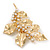 Gold Plated Crystal Simulated Pearl Floral Brooch/Pendant - view 3