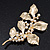 Gold Plated Crystal Simulated Pearl Floral Brooch/Pendant - view 2