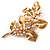 Gold Plated Crystal Simulated Pearl Floral Brooch/Pendant - view 14