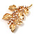 Gold Plated Crystal Simulated Pearl Floral Brooch/Pendant - view 7