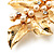 Gold Plated Crystal Simulated Pearl Floral Brooch/Pendant - view 10