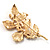 Gold Plated Crystal Simulated Pearl Floral Brooch/Pendant - view 13