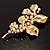 Gold Plated Crystal Simulated Pearl Floral Brooch/Pendant - view 5
