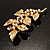 Gold Plated Crystal Simulated Pearl Floral Brooch/Pendant - view 11