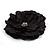 Large Black Crystal Fabric Rose Brooch - 13cm Diameter - view 4