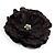 Large Black Crystal Fabric Rose Brooch - 13cm Diameter - view 2