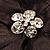 Large Black Crystal Fabric Rose Brooch - 13cm Diameter - view 3