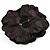 Large Black Crystal Fabric Rose Brooch - 13cm Diameter - view 6