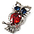 Silver Tone Stunning CZ Owl Brooch (Red & Blue) - view 4