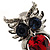 Silver Tone Stunning CZ Owl Brooch (Red & Blue) - view 2