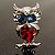 Silver Tone Stunning CZ Owl Brooch (Red & Blue) - view 3